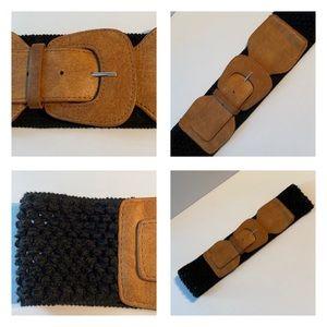 "Accessories - Like NEW Brown & Black Elastic Belt 28""- 30"""